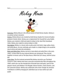 Mickey Mouse - Full history facts information questions lesson vocabulary