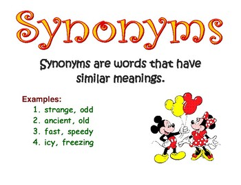 Mickey Mouse Homonyms, Synonyms, Antonyms Small Posters