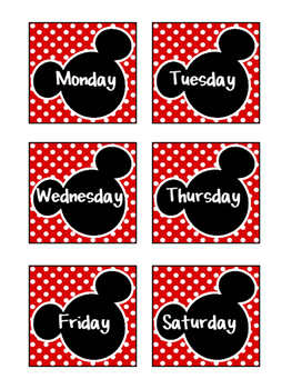 Mickey Mouse Inspired Calendar