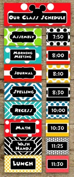 Mickey Mouse Inspired Class Daily Schedule Pocket Chart Cards EDITABLE