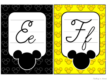 Mickey Mouse Inspired Cursive Alphabet