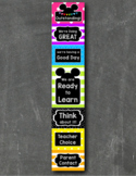 Mickey Mouse Inspired EDITABLE Behavior Clip Chart BRIGHT CHALKBOARD