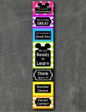 Mouse Ears Inspired EDITABLE Behavior Clip Chart BRIGHT CHALKBOARD