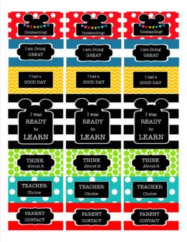 Mickey Mouse Inspired EDITABLE Take Home Mini Behavior Chart