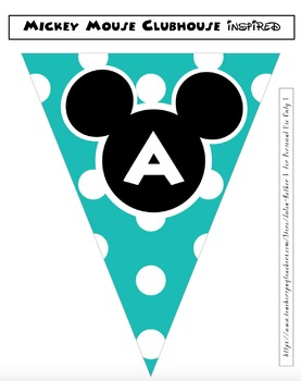 Mickey Mouse Inspired Editable Classroom Bunting Pennants
