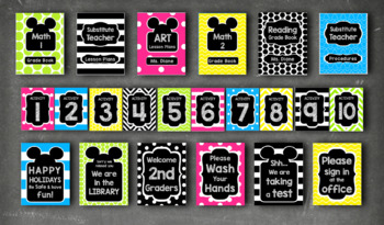 Mickey Mouse Inspired Editable Classroom Decor Package BRIGHT CHALKBOARD