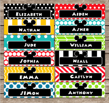 Mickey Mouse Inspired Editable Classroom Namplates
