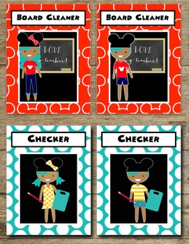 Mickey Mouse Inspired Kids Editable Classroom Jobs Helpers - 90 Cards