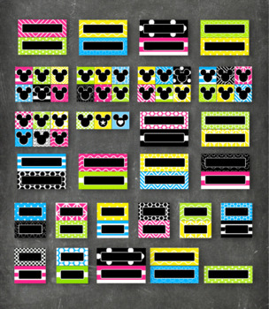 Mickey Mouse Inspired Pocket Chart Calendar Editable in BRIGHT CHALKBOARD