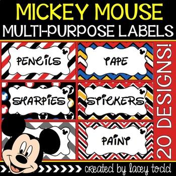 Mickey Mouse Multi-Purpose Labels {20 DESIGNS}
