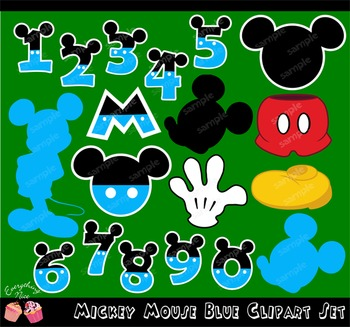 Mickey Mouse Numbers Blue Clipart Set