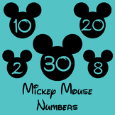 Mickey Mouse Numbers, Disney Numbers, Mickey Head Labels, 0-31