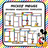 Mickey Mouse Rainbow Newsletter Templates- Editable
