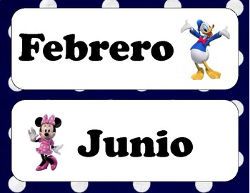 Mickey Mouse Spanish Months of the Year