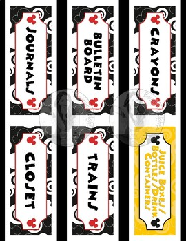 Mickey Mouse Theme Classroom Labels - Word Wall - 51 Words Included - 3 sizes!