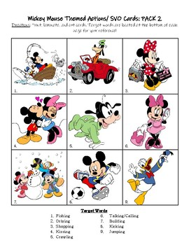 Mickey Mouse Themed Actions/ SVO Cards: PACK 2