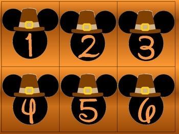 Mouse Ears Thanksgiving Calendar