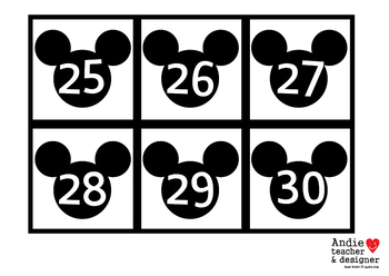 Mickey Inspired Number Cards 0-31 / Number Cards