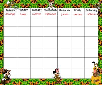 Mickey Safari Calendar 24x20 Bilingual