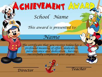 Mickey Sailor Boat Achievement Award English & Spanish version Editable!!!
