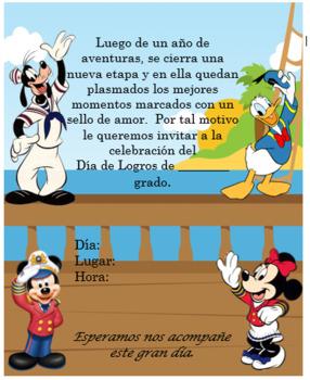 Mickey Sailor Boat Invitation. Editable!!!!