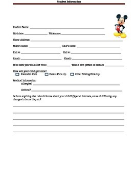 Mickey Student Information Sheet