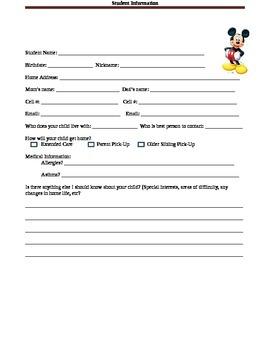 Mickey Student Information Sheet
