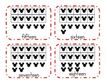 Mickey Ten Frame Flash Cards 11-20