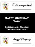 Mickey Theme Birthday Tags English and Spanish