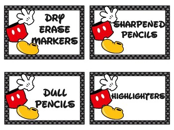 Mickey Themed Classroom Labels