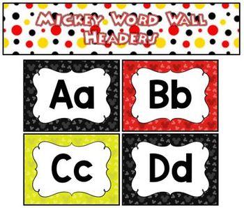 Mickey Word Wall Headers