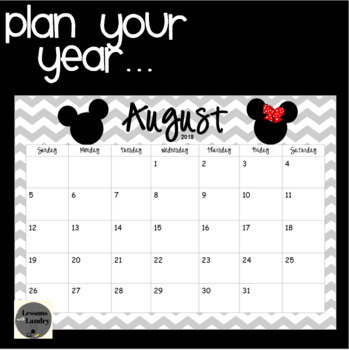 Mickey and Minnie Chevron 2017-2018 School Year Calendar
