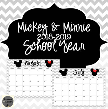 Mickey and Minnie Chevron 2018-2019School Year Calendar