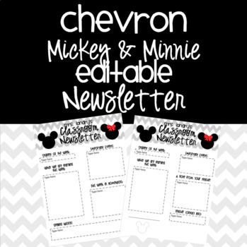 Mickey and Minnie Classroom Newsletter {EDITABLE}