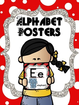 Alphabet Picture Card Posters - Red, white, black