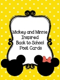 Mickey and Minnie Inspired Back to School Postcards