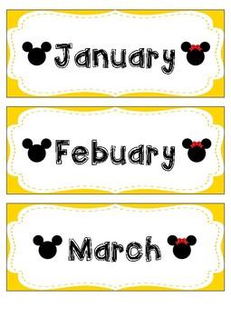 Mickey and Minnie Inspired Calendar