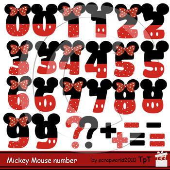 Mickey and Minnie Mouse Numbers clipart
