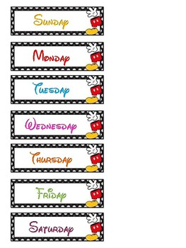 Mickey days of the week cards