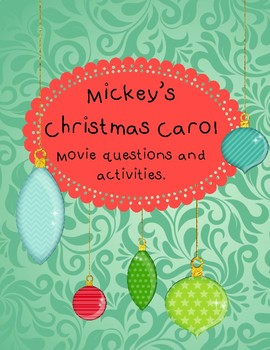 Mickey's Christmas Carol movie questions and activities by La Prof Geek
