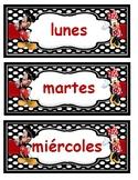 Mickey y Minnie días de la semana y meses del año.