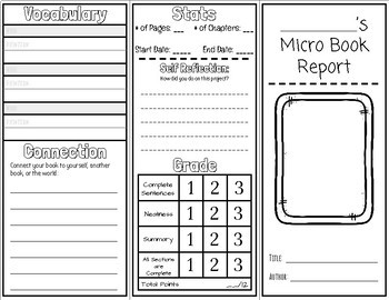Micro Book Report - Any Book, INCLUDES| Built-in Rubric and Self-Reflection