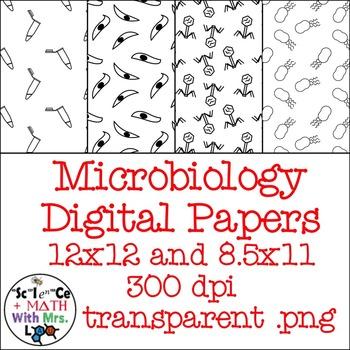 Microbiology Digital Paper Black Line Clipart: Bacteria, Virus, Parasite, Tube