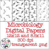 Microbiology Digital Paper Black Line Clipart: Bacteria, Virus, Parasite, Tube