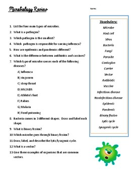 Microbiology Review Guide - NC 8th Grade Science EOG
