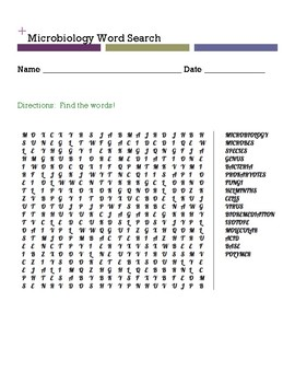 Microbiology Word Search