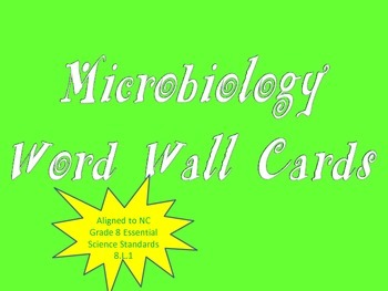 Microbiology Word Wall Cards (NC Grade 8 Essential Science Standards 8.L.1)