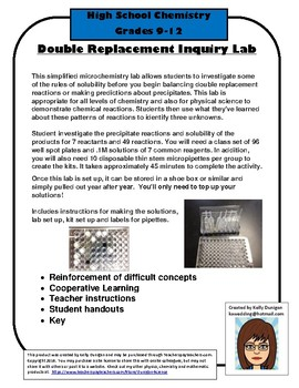 Microchemistry Double Replacement Reactions - Solubility Rules - Inquiry Based