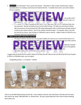 Microchemistry: Titration to Determine Aspirin Tablet Concentration