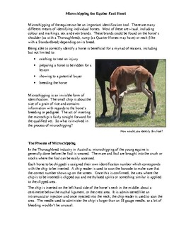 Microchipping the Equine Fact Sheet